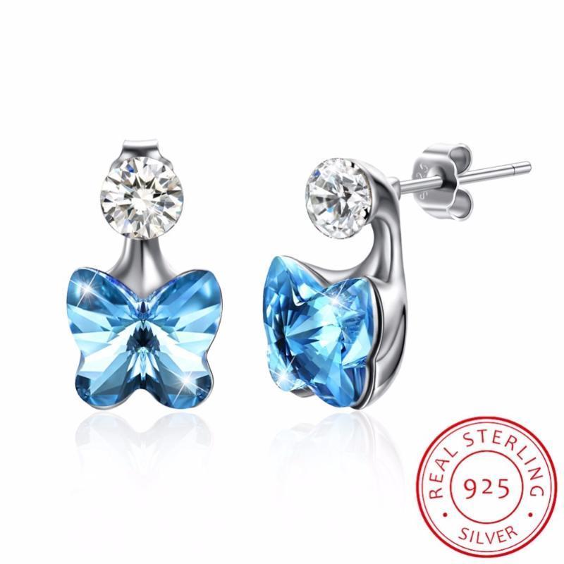 Lekani Kristall aus S925 Sterling Silber Schmuck Ohrstecker Frauen-Ohrring Schmetterlings-Form österreichischen Strass New