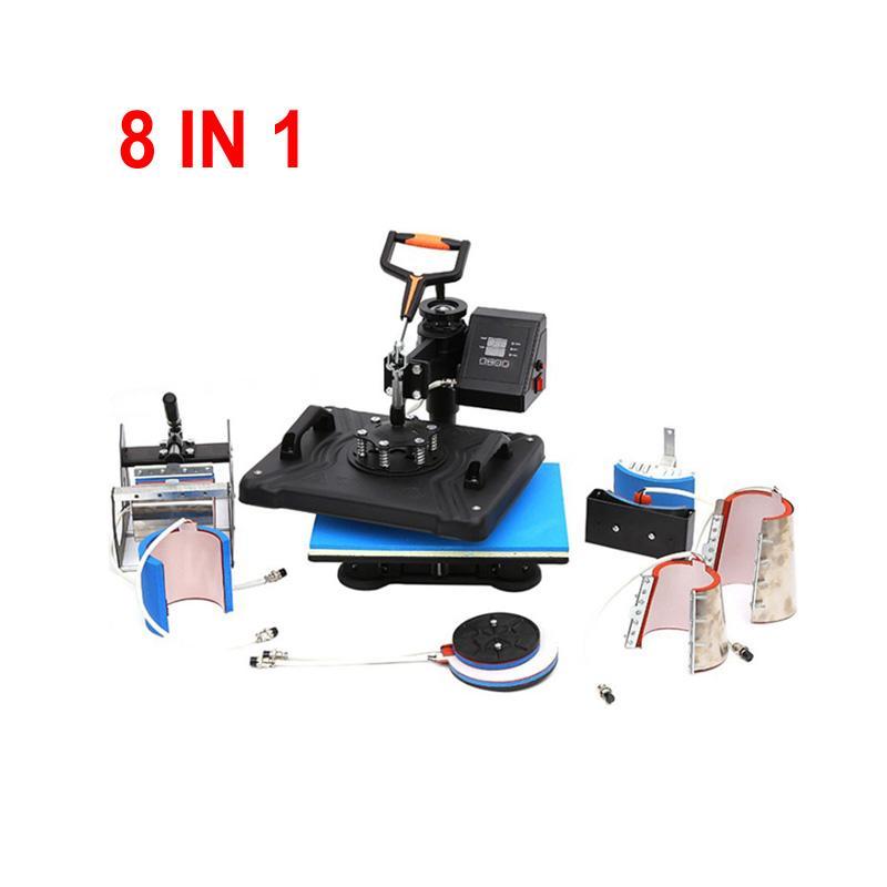 30 * 30 سنتيمتر diy كومبو التسامي آلة 8 في 1 القدح شيرت الهاتف حالة الحرارة الصحافة آلة نقل الحرارة الطباعة لتخصيص القدح
