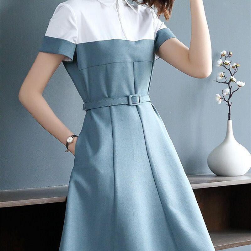 2020 лето новый профессиональный платье моды с короткими рукавами лоскутное воротник рубашки тонкий стиль талии стиль платье взрыв