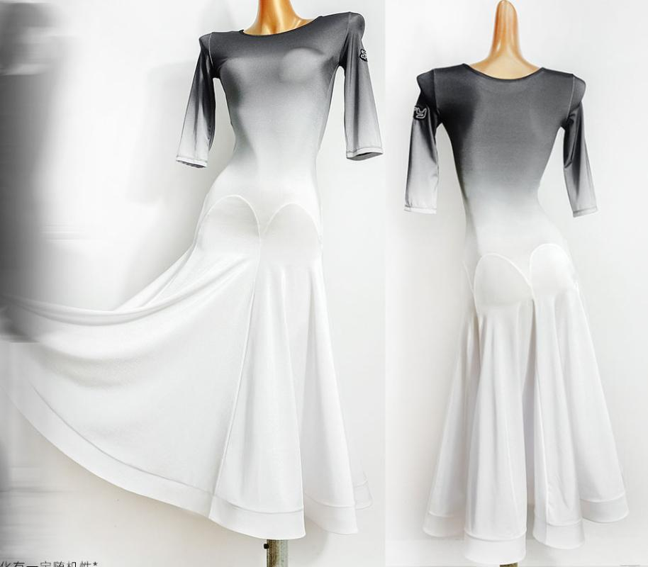 Vestido de salón de baile Mujeres Estándar Estándar Waltz Vestido Suave Situación estándar Blanco Gradiente negro Colort632
