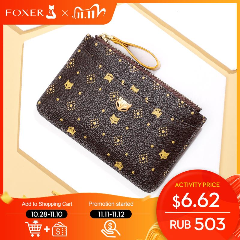 FOXER PVC Leather Holder Women's Mini Coin Packet Ladies Key wallet Small Bus ID Card Bag Retro Light Clutch Purse Q1106