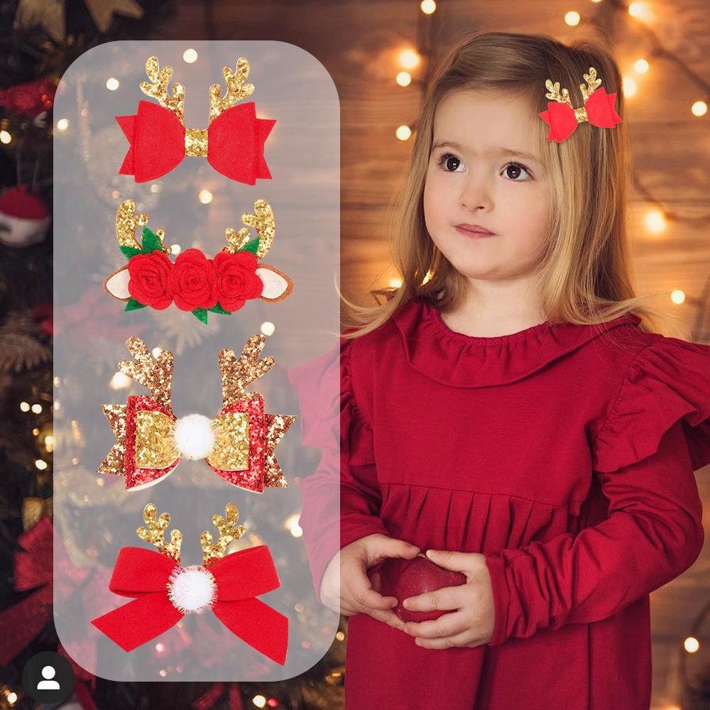 Neonate degli accessori dei capelli di Natale Tornante natale Fiocco Hairclip di Natale Nuovo sveglie clip Ramificazione per capelli Forcine Gioielli
