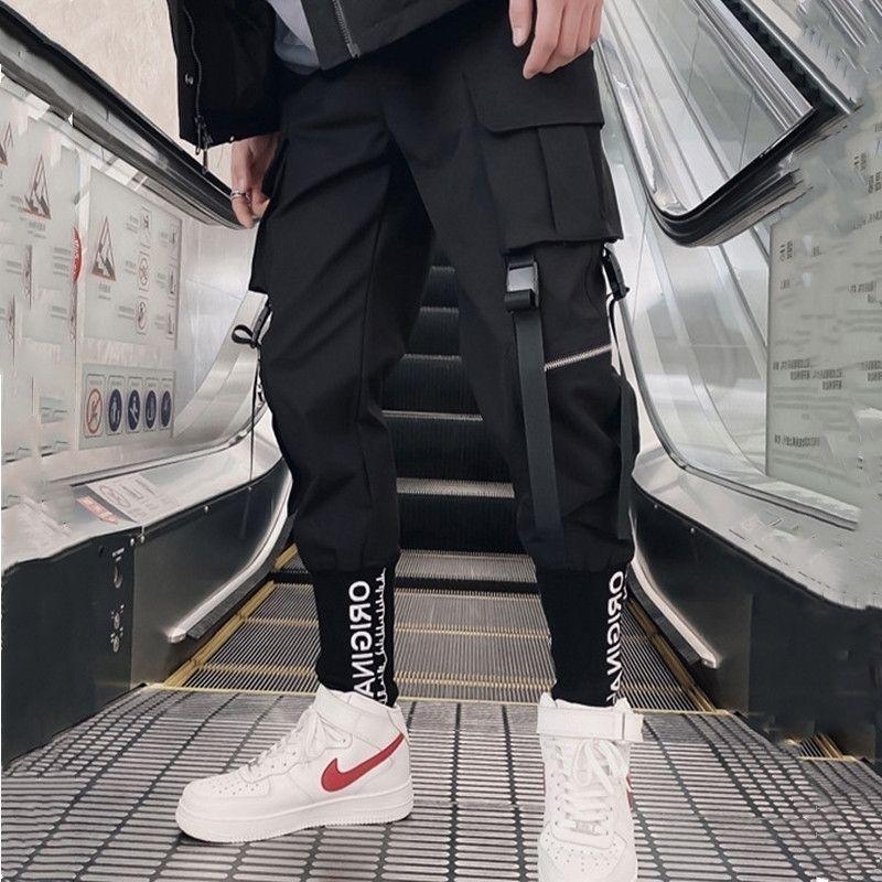 Streetwear Kargo Pantolon Hip Hop Rahat Çok Cepler Harem Pantolon Erkek Joggers Pantolon Moda Harajuku Pantolon Erkekler için Pantolon 201118