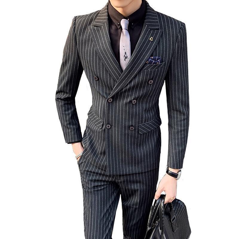 Çizgili Takım Elbise Erkek İngiliz Tarzı Moda Butik Ince Parti Kruvaze Set 2 Takım (Coat + Pantolon)