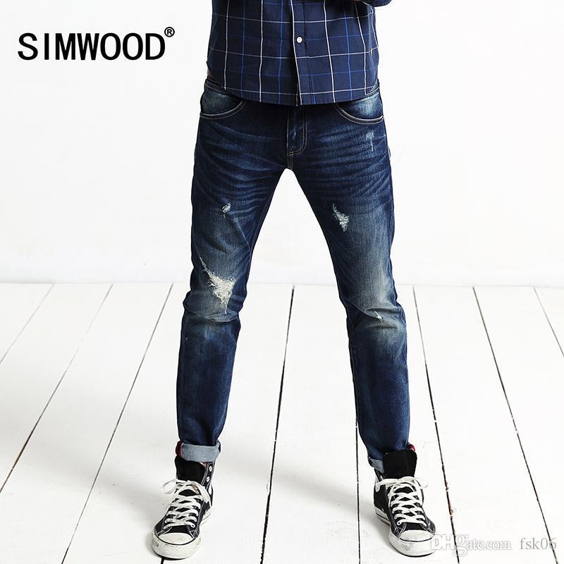 Toptan-SIMWOOD Erkekler Jeans Sıcak Satış Moda Düz İnce Fermuar Casual Denim Jeans Erkek Pantolon Yüksek Kalite Ücretsiz Kargo SJ641