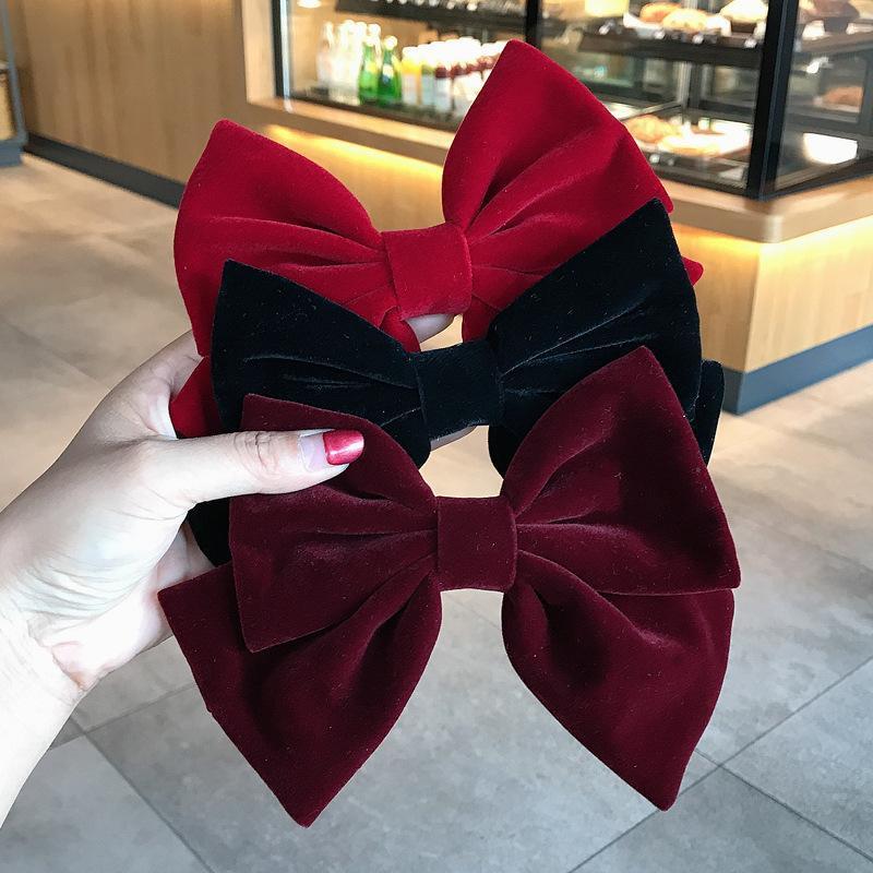 New fashion Autumn winter velvet cloth spring clip Solid color big bow hairpin Barrettes Women girls hair accessoriesr Headwear
