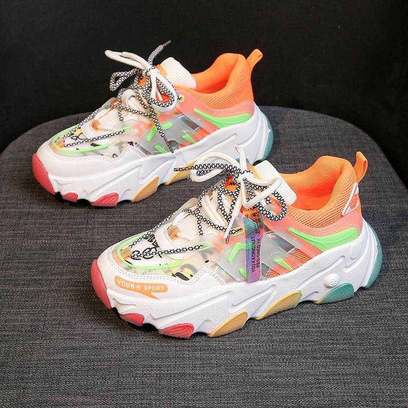 Frauen Chunky Turnschuh-Entwerfer-Mischfarben schnüren sich oben Old Dad-Schuh-Plattform Frau Mode Freizeitschuhe Tenis Weibliche Trainer 4cm T201012