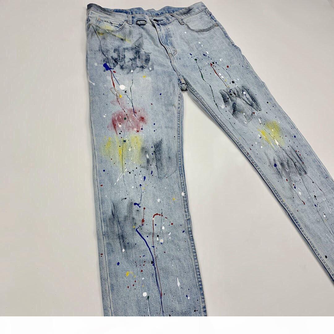 Erkek Tasarımcı Kot Numarası (N) INE Splash Mürekkep Yıkanmış Retro Yıkılan Kot Sicko Jeans Yüksek Sokak Moda Denim Pantolon