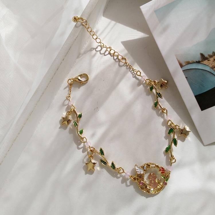 Ragazza alla moda e versatile Mori foglia verde gatto gioielli a mano dolce stile principessa giapponese semplice braccialetto femminile braccialetto BraceletBracciale