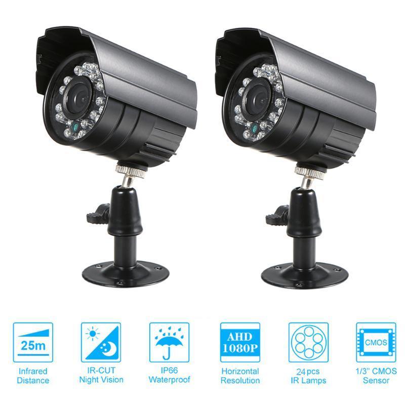 """2pcs CCTV Caméra 1/3 """"CMOS Couleur 1080p haute résolution 24 lampe Nightvison Imperméable Caméra intérieure Sécurité analogique"""