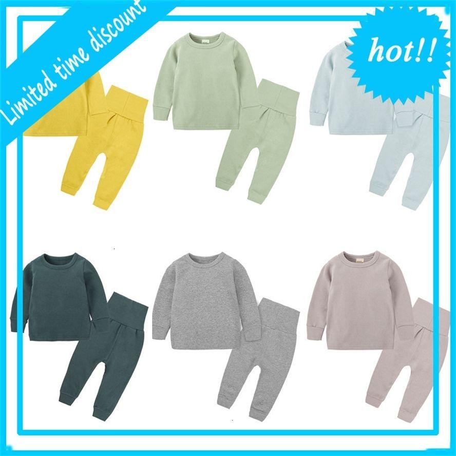 Новые весенние Herf Baby Baby Boys Solid Kids Long Mouwen Cats Pajamas Наборы 2 STUKS Homewear Одежда для девочек на 0-6 лет