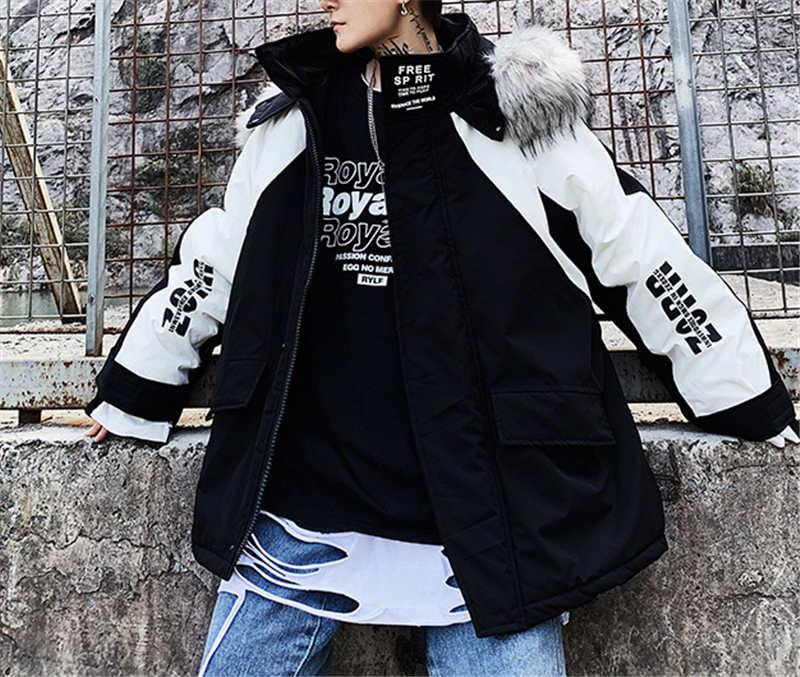 Dağ kürk yaka pamuk dolgulu ceket erkek gevşek artı boyutu kış ceket erkek Kore tarzı eğilim hiphop hiphop pamuk dolgulu JAC oyulmuş