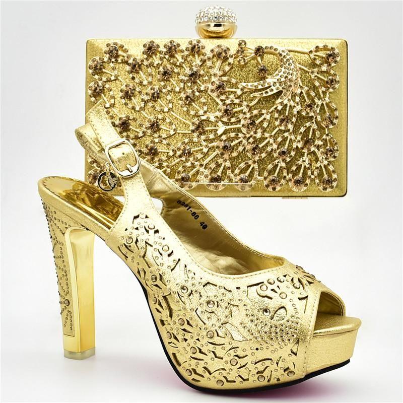 Nuovo arrivo Italian Shoes con i sacchetti di corrispondenza Set decorato con il sacchetto strass scarpe da donna tacco alto Partito Africano ganasce