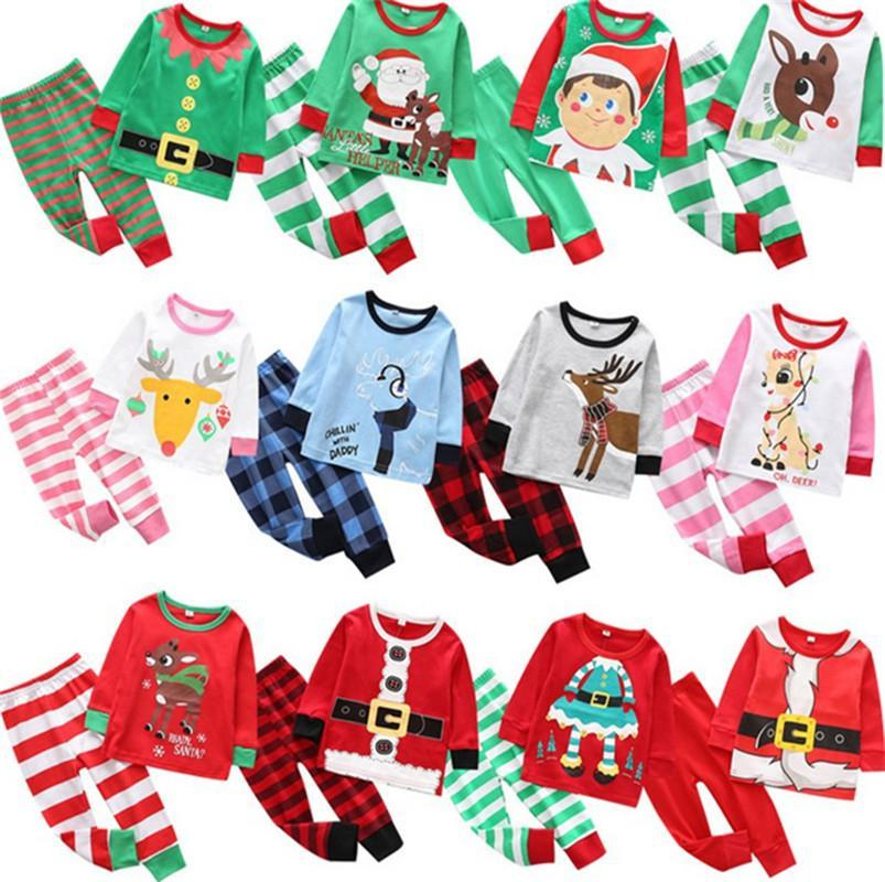 Christmas Kids Pajamas Set Tracksuit Two Pieces Outfits Santa Claus Elk Striped Xmas Pajamas Suits Sets Boys Girls Home Clothing OWA1651