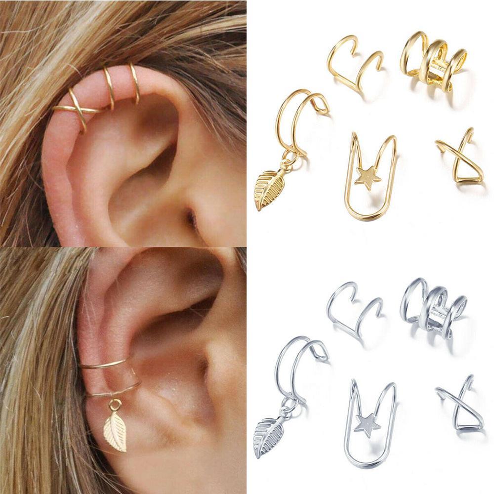 2020 Mode 5Pcs / Set oreille Manchettes feuille d'or Boutons de manchette Boucles d'oreilles clip oreille pour les femmes earcuff Pas Piercing Faux Cartilage Boucles d'oreilles