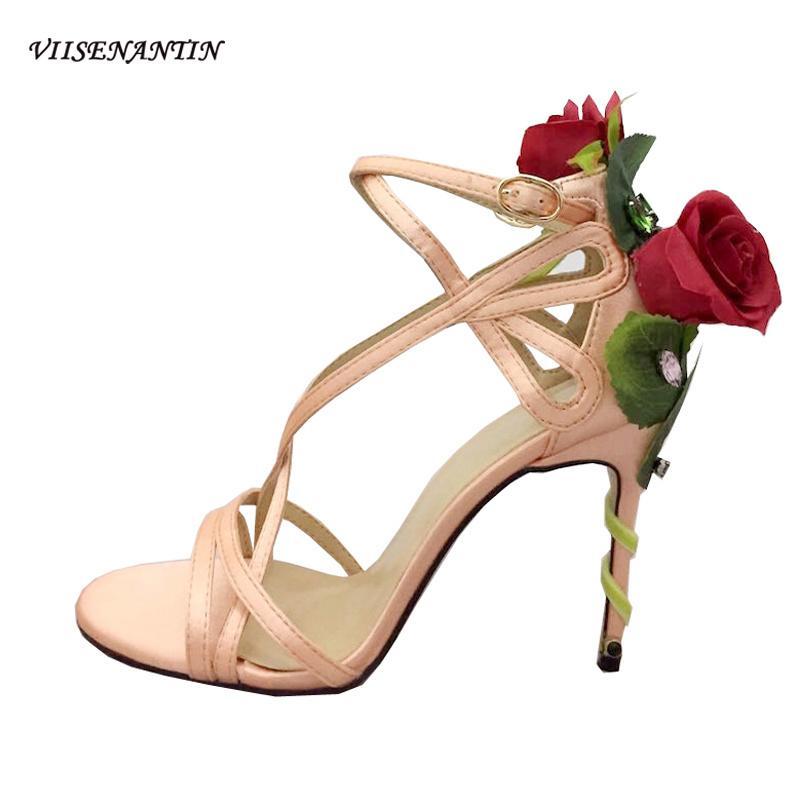 VIISENANTIN New Sexy Satin Sandal Chaussures Rose Fleur Décor Belle été Sandalias Jeweled bande étroite chaussure de mode 0928
