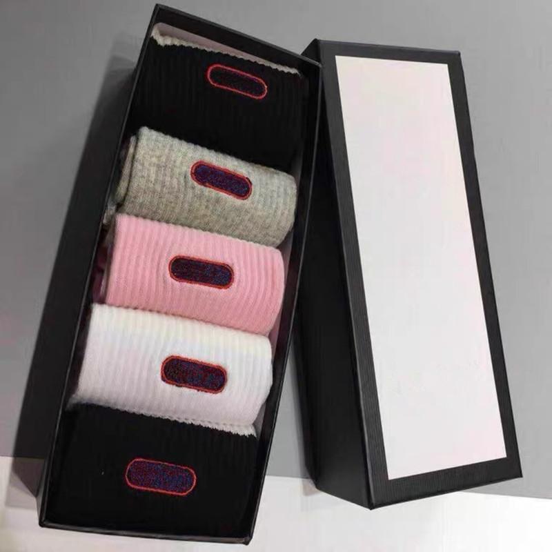 Chaussette de lettre classique avec boîte élégant cercle chaussettes de coton femelle chaussette de mode chaussures de sport chaussettes sport chaussettes femmes chaussettes