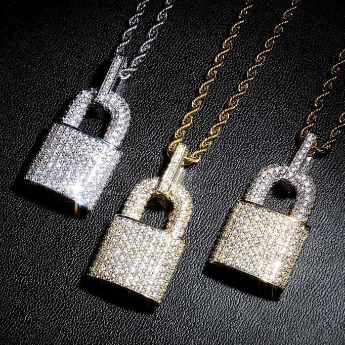 Nouveaux gars 18K plaqué or cubique zircone verrouillage pendentif nechlace personnalisé bijoux hip hip hop hommes bijoux femmes cadeaux pour amoureux