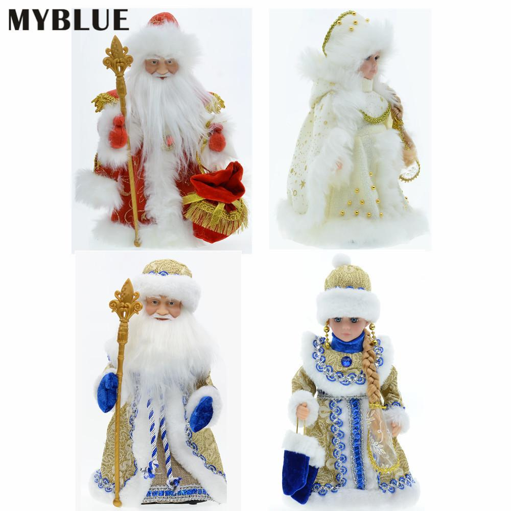 30cm Christmas Ornaments Electric Santa Claus Snow Maiden Musical Dancing Plush Dolls Toys Gift Decoration for Home Navidad 2021 201125