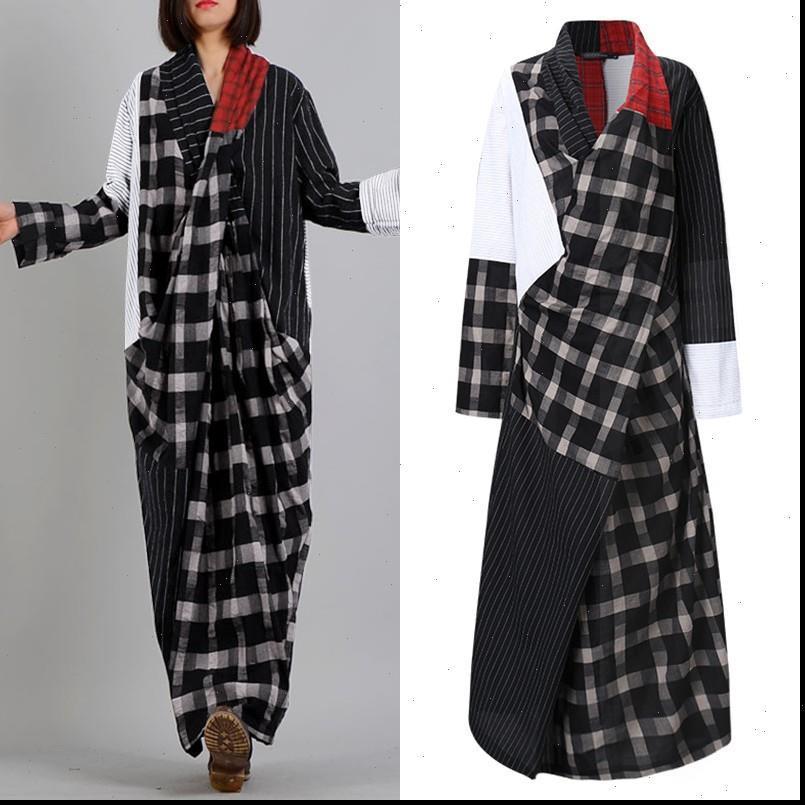 Übergroßes asymmetrisches Kleid Frau Frühling Sommerkleid Lässige langarm karierte vestidos weibliche V-Ausschnitt Patchwork Retro Robe
