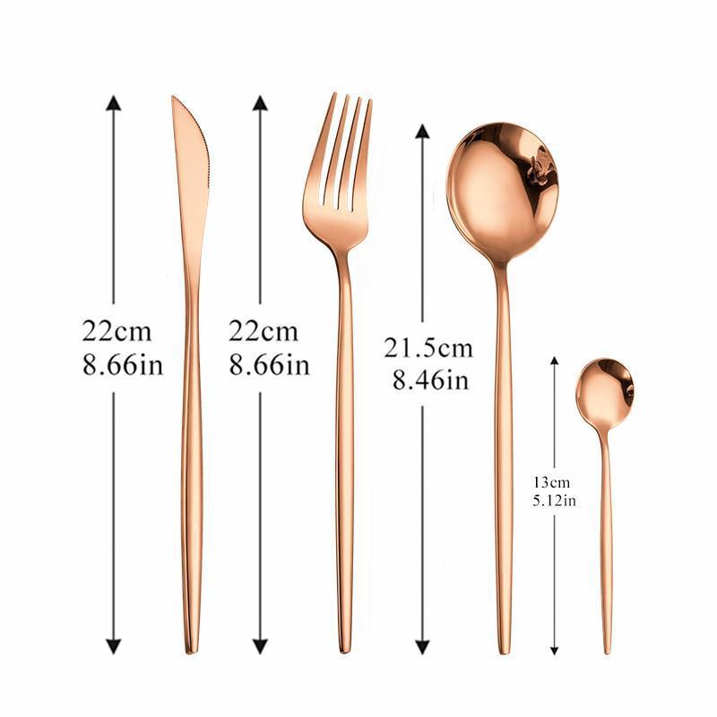 Casa Vajilla Dorado Cubiertos Forks Cena Conjunto de Cubiertos de Acero Inoxidable Cubiertos Casquillo Completa Tenedor Cuchillo Cuchillo Cuchillo Set Eco Friendly H JLLSQV
