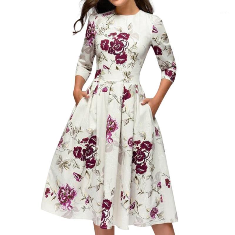 Летнее платье Женщины старинные цветочные принт A-Line Party Vestidos Вечерний многоцветный элегантный элегантный MIDI платья высокая талия карманн Sundress1