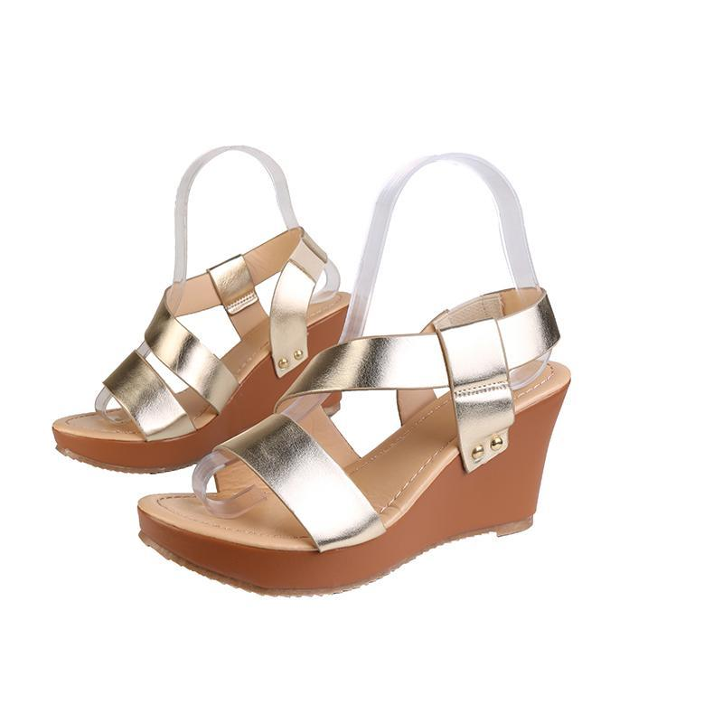 Sandali Donne Tacchi alti Scarpe PU Donna Moda Apri Toe Platetto da cuneo Slip Estate Slip on Ladies Casual Female calzature 2021