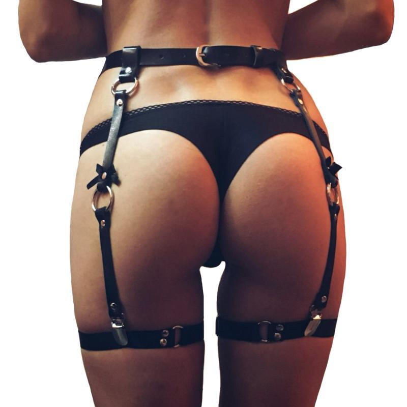 mulheres quentes da venda Sexy de couro cintos bowknot corpo Leg Bondage gaiola Punk Sculpting Arnês de cintura Correias Belt Suspensórios Acessórios