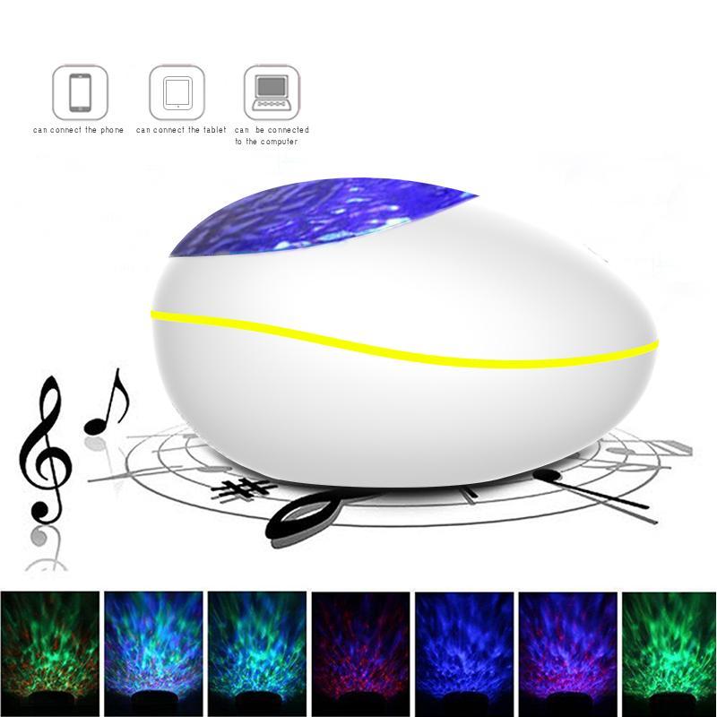 원격 행운의 돌 모양 블루투스 스피커 갤럭시 USB LED 나이트 라이트 로맨틱 프로젝션 램프 다채로운 프로젝터 별이 빛나는 하늘 빛