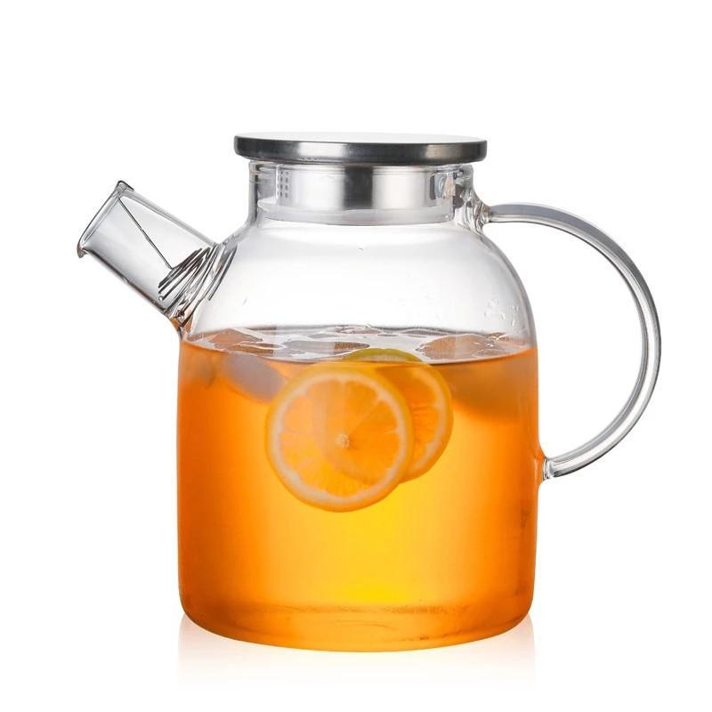 1L / 1.8L transparente Tetera de vidrio resistente al calor Flor Hervidor jarra de agua con bambú cubierta / acero inoxidable jugo claro de contenedores