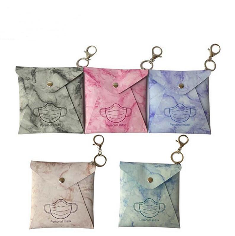 Maske Saklama Çantası Anahtarlıklar Taşınabilir PU Koruyucu Yüz Maskesi Kapak Anahtarlık Tutucu Kılıf Moda Anahtar Zincirleri Çanta Kolye Mini Çantalar E122406