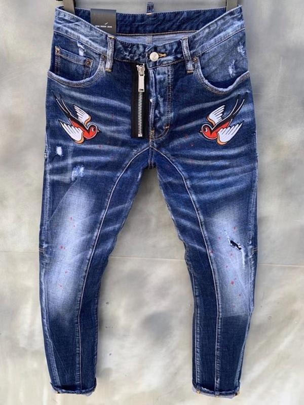 Modischen europäischen und amerikanischen Männer Casual Jeans im Jahr 2020, hochwertige gewaschen, von Hand getragen wird, fest und riss Motorrad Jeans LT129