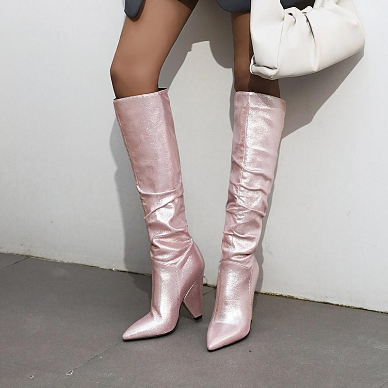 2021 Female Fashions Sequins Rag Spikes Heels Winter Long at Knee High Rider Boots More Size Pink Shoes Zxyq
