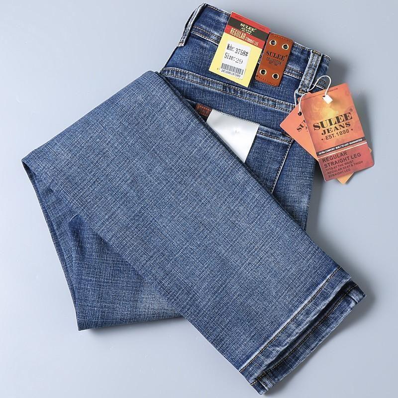 2020 Sulee Bonne qualité Blue Jean Slim Fit Denim Jeans Hommes Coton denim stretch Pantalons Jeans Cowboy d'affaires