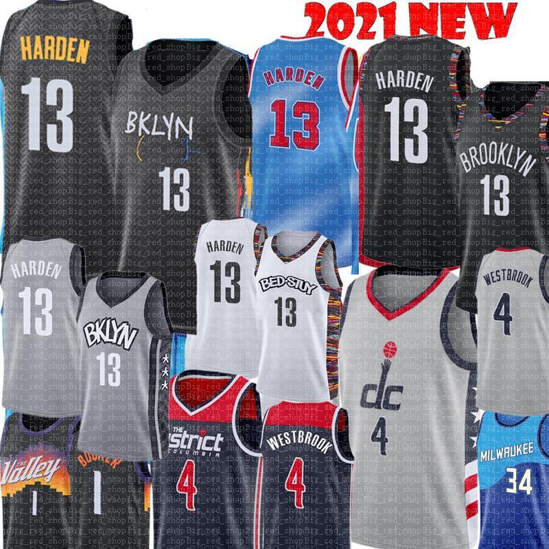 13 Harden Jersey Russell 4 Westbrook Jersey Neue Mens Devin 1 Booker Basketball Trikots 2021 Jersey Billigverkauf Hohe Qualität