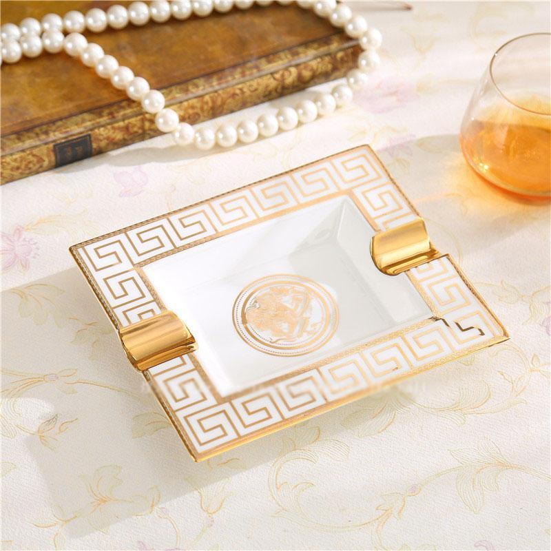High End Ceramic Ashtray Luxury Home Products House Cafes Hotel Alphabet Quality Portable Smoking Ashtrays Accessories