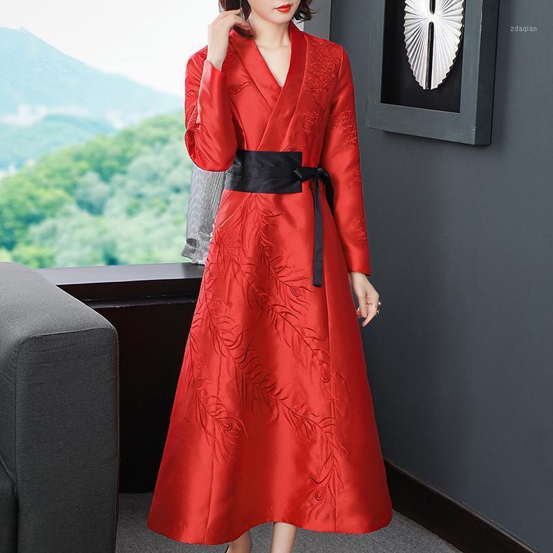 Autunno e inverno in stile vintage in stile V-Neck ricamo + splicing sottile vita alta lunghezza signora sera abito da sera S-2XL1