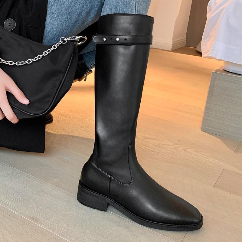Die Frauen echtes Leder Reitstiefel 2020 Winter warme Mode Zip Up Kniehohe Stiefel hoch Schwarz Braun Mitte Kalb Damen-Schuhe