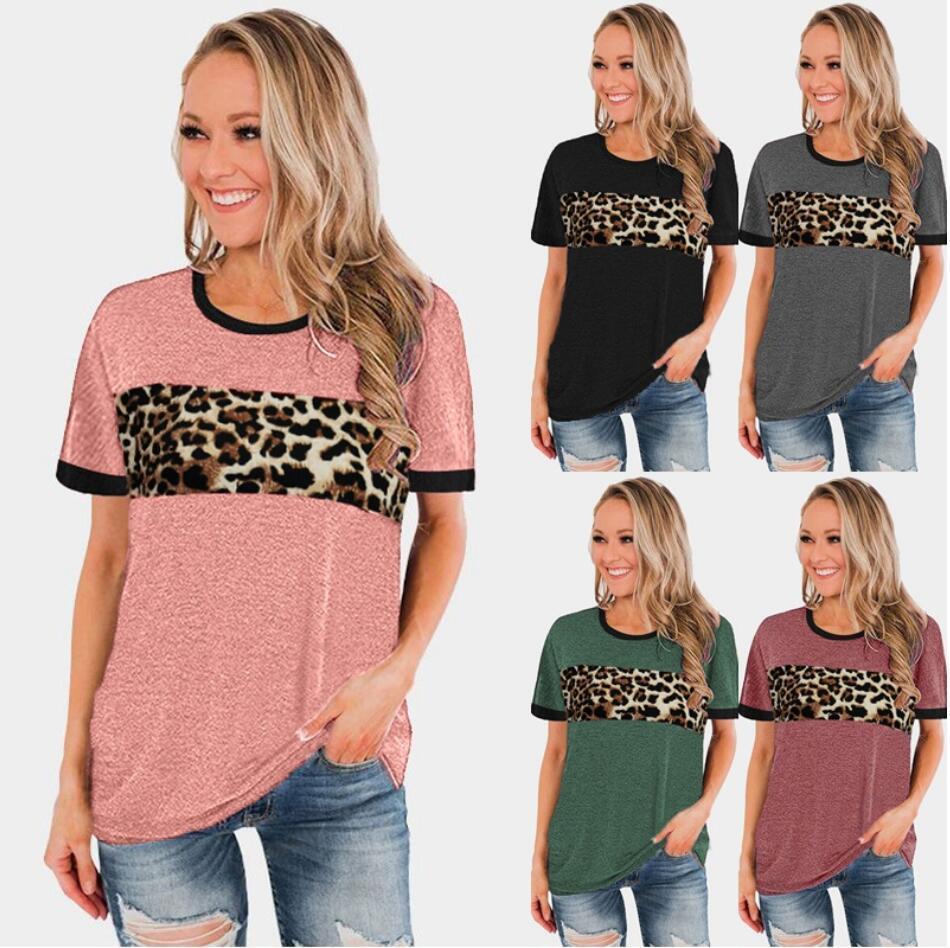 2021 Top femminili europee e americane Primavera ed Estate Nuovo Vendita Calda Collo Round Bound Leopard Pattern Splicing T-shirt manica corta