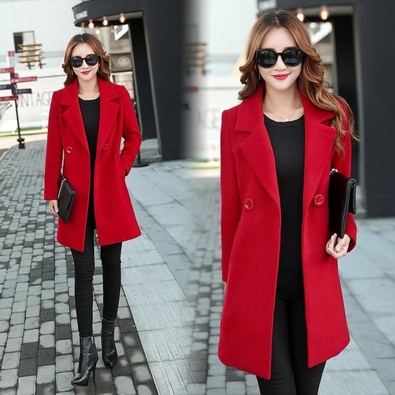 Yiciya outono jaqueta de inverno mulheres casaco de lã roupas plus size 3xl 4xl grande grande longo preto blend roupas outerwear 201102