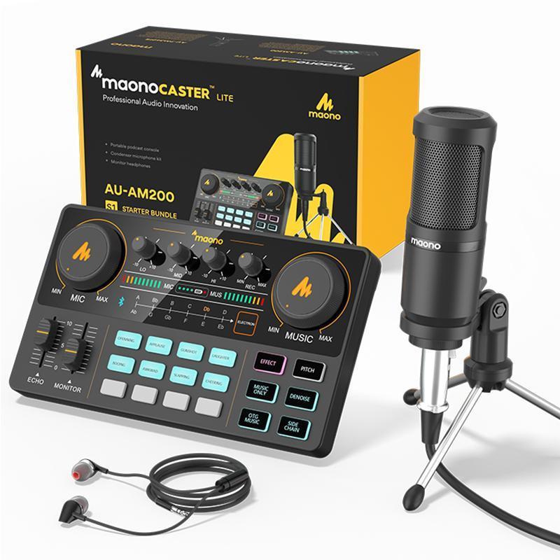 Maonocaster 올인원 마이크 믹서 키트 외부 사운드 카드 오디오 인터페이스 Podcaster 스튜디오 레코드 용 콘덴서 마이크
