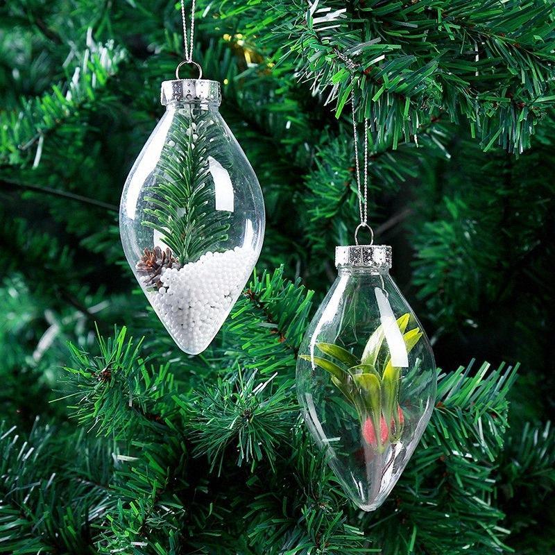 Presente regalo bola decoraciones de Navidad Tress 10pcs DIY la caja del caramelo Ransparent abierto Claro chuchería de ornamento Rqc8 #