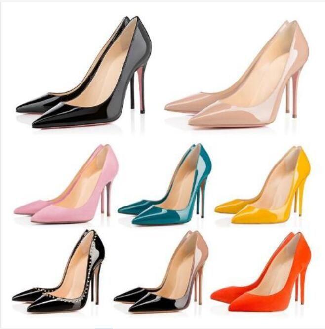 2020 ücretsiz teslimat, yüksek kaliteli moda ve lüks bayan kırmızı tabanlı yüksek topuklu, patent deri parti düğün ayakkabı orijinal kutusu 34-42