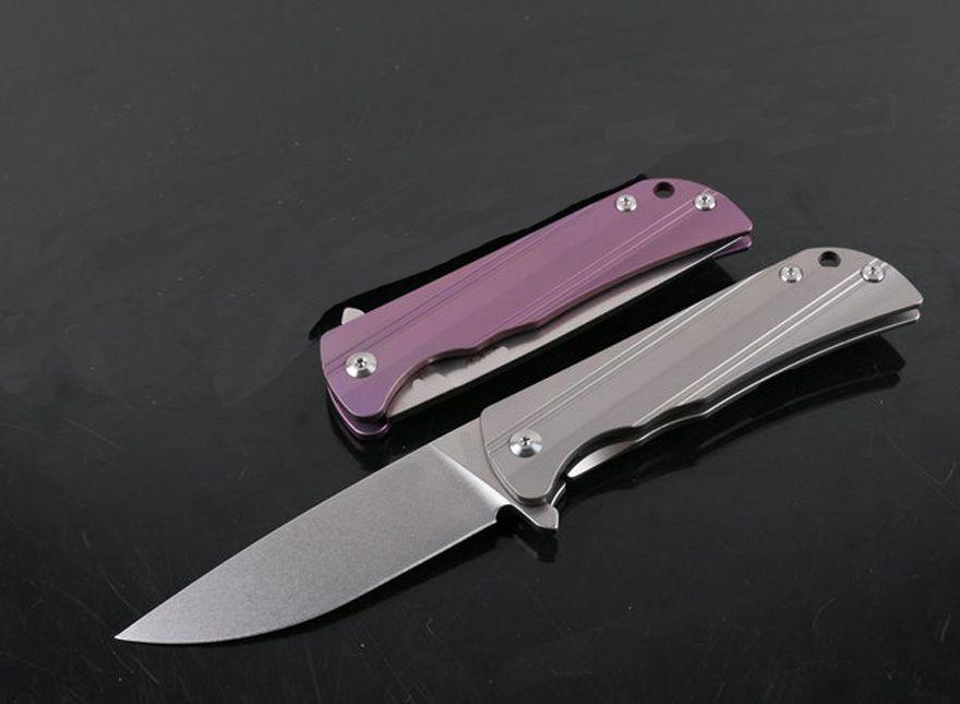 1Pcs High performance Flipper folding knife D2 blade ball bearing washer TC4 handle outdoor camping Hiking EDC pocket knives