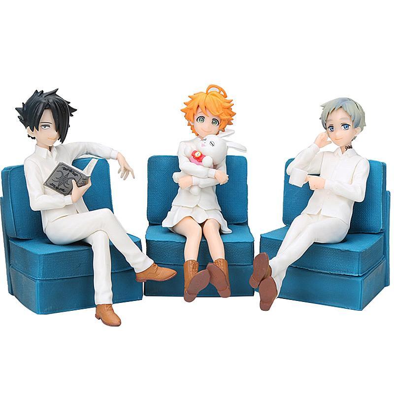 3adet 1pcs Anime 13cm 1008 Neverland Şekil Seti Emma Norman Ray Şekil Brinquedos oyuncak Vaat