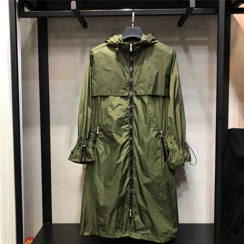 Womens Long Windbreaker 2020 Spring Abrigos de manga larga con cremallera de manga larga Plisada de moda diseñada para chaqueta larga Mujer Outwear LJ200903
