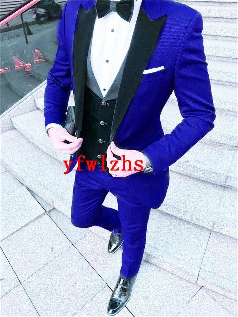 Классическая одна кнопка Красивые женихки Пик Отворотный жених Смокинги Мужские костюмы Свадьба / выпускной Лучший мужчина Blazer (куртка + брюки + жилет + галстук) W534