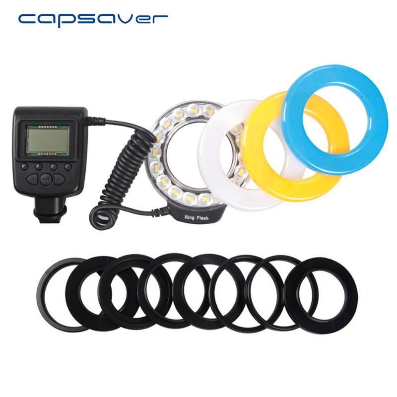 CAPSAVER RF-600E LED Macro Bague Flash Light pour la caméra Minolta Flash SpeedLite 18pcs SMD LED Vidéo voyageur avec des anneaux d'adaptateur