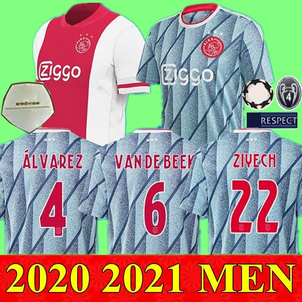 NCAA 20 21 AJAX NERES Футбольные трикотажки 2020 2021 обмена фургон De Beek Tadic Ziyech футбольная футболка Tagliafico Huntelaar de Jong Maillots de op
