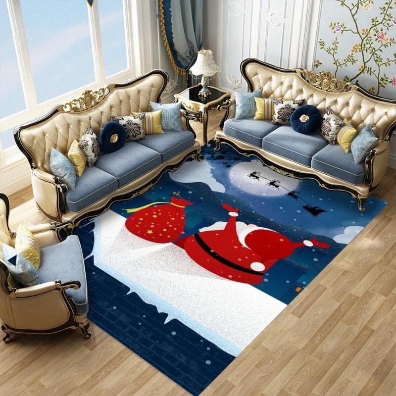 Babbo Natale e regalo Area di stampa tappeto antiscivolo assorbente bagno Carpet poliestere Rettangolo Cucina Corridoio Zerbini GbHQ #